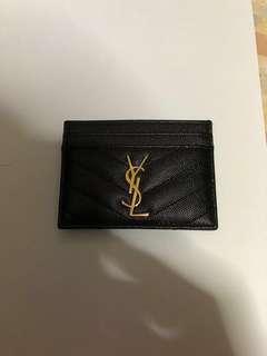 YSL cardholder with gold emblem