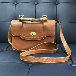 Authentic Vtg 60s Brown Gucci Handbag Bamboo handle lunch box bag