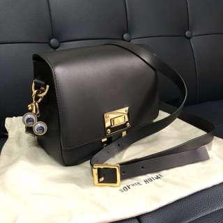 Sophie Hulme Box Flap Bag Saddle Leather Mushroom
