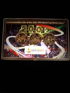 2002 Japan 500 Yen Nickel Brass Commemorative Coin Set 2002 FIFA World Cup Korea/Japan 3x500 YEN Coins Mint Set, Uncirculated Condition.