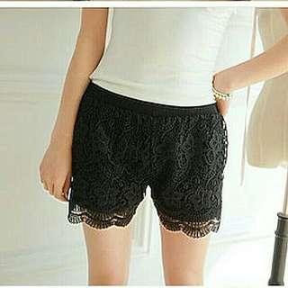 Black Korean Stylish Crochet Lace Shorts