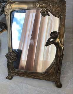 Art nouveau brass frame mirror 9.5x13 inches