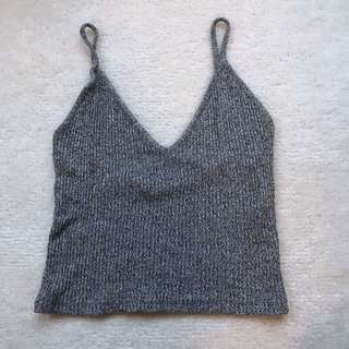 Woman's Grey Sleeveless Crop Top