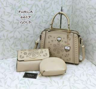 Furla Handbag Gold Color