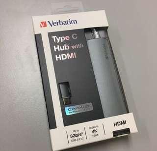 Verbatim Type c hub with HDMI USB Mac Apple