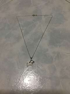 925 Silver Poodle with Swarovski Crystal Pendants with 925 Silver Necklace