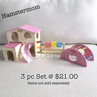 Hamster 3pc Set Pink Playground Wooden House, Cube & Bridge Toy Set