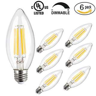 Pack Of 6 LED Candle Light Bulb,CMYK Dimmable 4W C35 Antique Edison Screw LED Filament Bulbs 40W Incandescent Replacement For Decorate Home,E27,2200K,Warm White,6 Pack