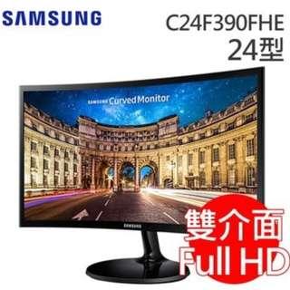 福利品 SAMSUNG C24F390FHE 24型 VA曲面寬螢幕 購買時開始保固