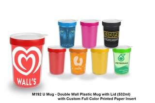 Wholesale Mug - Double Wall Plastic Mug with Lid (532ml)_C