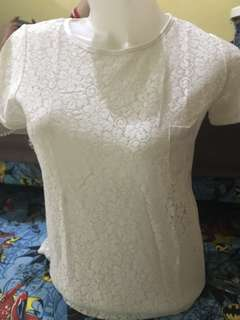 Colorbox White Brocade Blouse