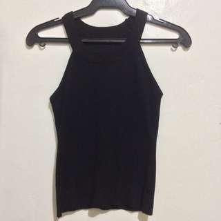 Black knitted halter top