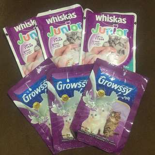3 pcs Whiskas Junior & 3 pcs Growssy Susu Kucing