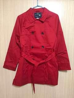 🌹全新ZARA GIRLS綁帶風衣外套 紅色 11-12 YEARS/152 CM