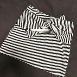 Pull & Bear Bow Knot Stripe Mini Skirt