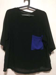 See through black blouse with blue pocket