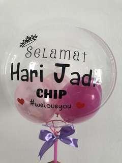 Custom bubble balloon.