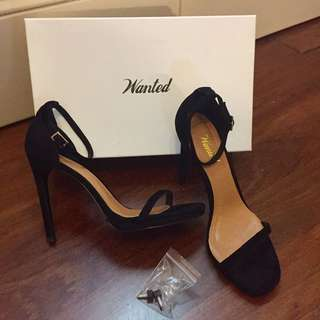 Wanted Black Suede Strappy Heels