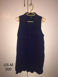 Navy blue button down dress with collar