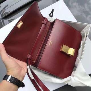 🈹🈹🈹Celine 酒紅色 盒仔袋 全新 有盒有塵袋