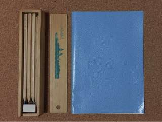 Japan PVC leather binded notebook + box of color pencils