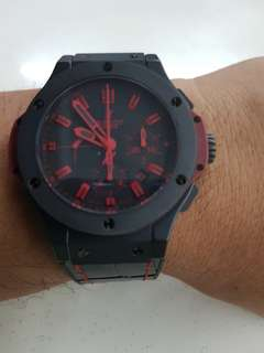 (Pending)Rare limited Edition Hublot Big Bang All Black Red with cert n box 4sale cheap!