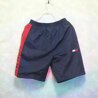 三件7折🎊 Tommy Hilfiger 運動短褲 短褲 風褲 藍紅 電繡logo 極稀有 老品 古著 Vintage