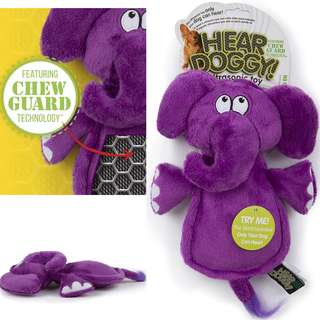BN Hear Doggy Flatties with Chew Guard Technology Dog Toy Elephant