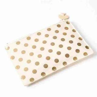 BRAND NEW WITH TAGS Kate Spade gold polkadot pouch