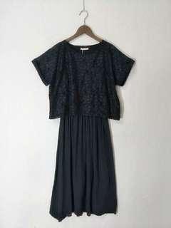 日本單sample黑色假兩件Lace通花連身裙