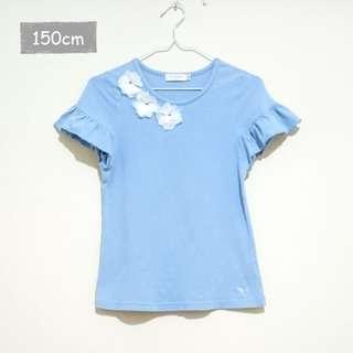 【Les Triples】花朵荷葉短袖上衣(藍色150cm)