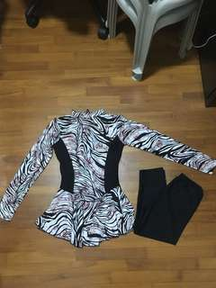 BN Long Sleeves printed swimsuit (women); comes with 3/4 black swim pants