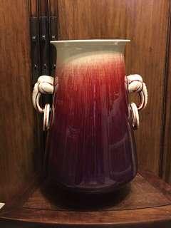 八十年代窯變雙耳瓶(景德鎮製)