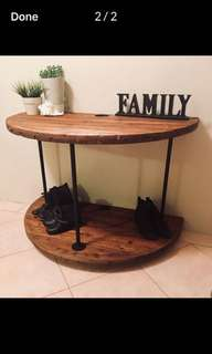 Wooden spool hallway table