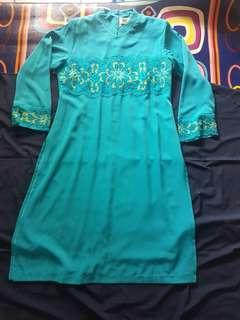 Baju Muslim Tunik Biru Bordir Lengan Panjang Adem Atasan Bawahan Setelan 1 Stel
