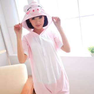 Pink Piggy Short Sleeve Adult Onesie