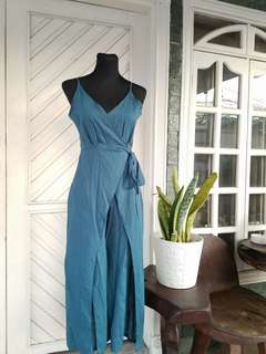 Blue Green Jumpsuit with High Slit