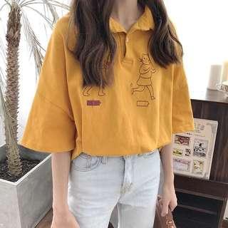 🌻韓版五分袖寬鬆POLO領上衣 百搭T恤 貓咪小貓充電 短袖上衣 圓領 polo衫 女裝上衣 襯衫