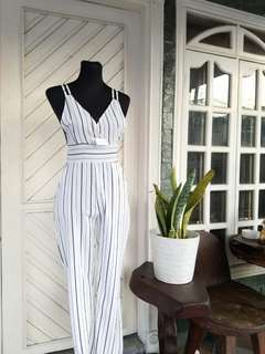 Black & White Stripes Jumpsuit