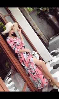 🚚 BN PINK ROSE FLORAL WRAP TYE DRESS L #hariraya35