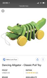 Plan Toys- Dancing Alligator- classic pull toy