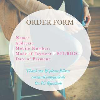 Order Form & Reminders from JAS deals