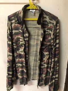 FOREVER 21 Camouflage Long Sleeve Polo