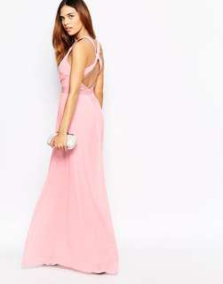 Warehouse Elegant Pink Backless Gown