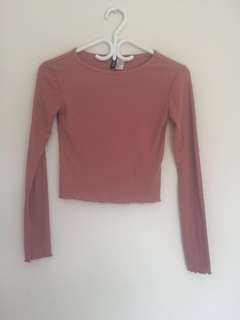 H&m Divided cute lettuce cut long sleeve pink Begonya