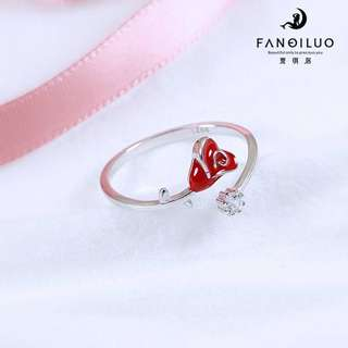 S925 Silver Rose Thorns Open-End Ring