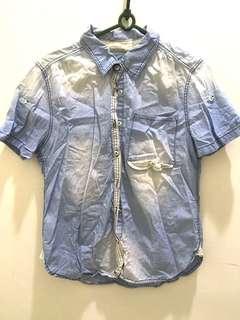 🚚 韓國製 刷白水藍短袖牛仔襯衫(全新)#一百元好物