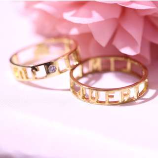 AUTIUM Letter ring customisation,  18K Gold Anniversary ring, couple ring, name ring, alphabet ring 2017-73