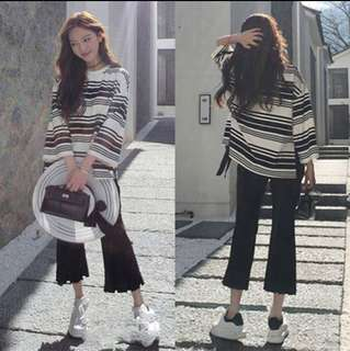 Korean Style Wide-Legged Trousers Set