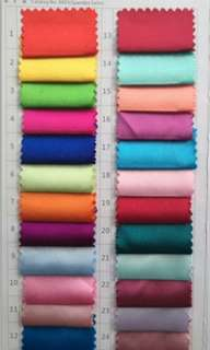 Colour chart/swatch for Spandex Satin material